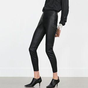 Zara Black Vegan Leather Ankle Zip Leggings Size M